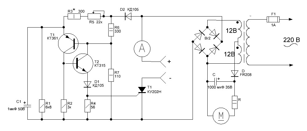 Простая схема управления тиристором на зарядное6